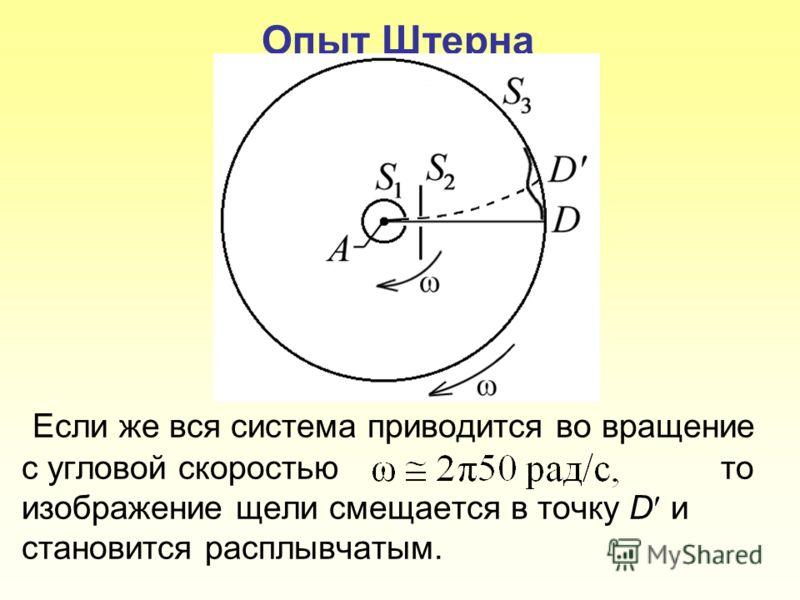 Опыт Штерна Если же вся система приводится во вращение с угловой скоростью то изображение щели смещается в точку D и становится расплывчатым.