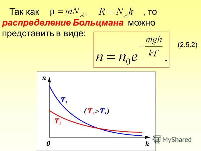 Так как, то распределение Больцмана можно представить в виде: (2.5.2)