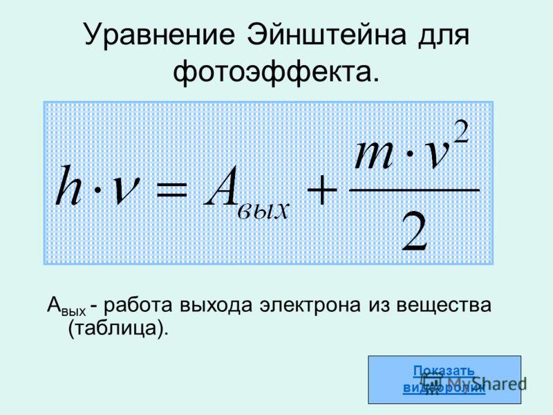 Уравнение Эйнштейна для фотоэффекта. А вых - работа выхода электрона из вещества (таблица). Показать видеоролик