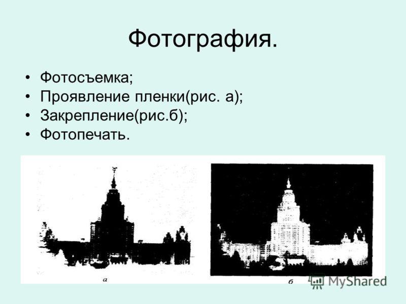 Фотография. Фотосъемка; Проявление пленки(рис. а); Закрепление(рис.б); Фотопечать.
