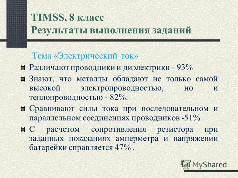 TIMSS, 8 класс Результаты выполнения заданий Тема «Электрический ток» Различают проводники и диэлектрики - 93% Знают, что металлы обладают не только самой высокой электропроводностью, но и теплопроводностью - 82%. Сравнивают силы тока при последовате