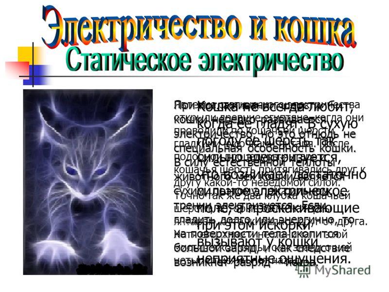 Явление статического электричества открыли древние египтяне, когда они проводили по кошачьей шерсти гладкими кусочками янтаря. После подобной процедуры янтарь и кошачья шерсть притягивались друг к другу какой-то неведомой силой. Точно так же два клуб
