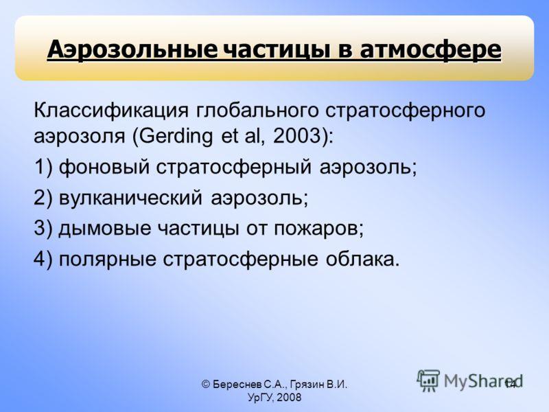 © Береснев С.А., Грязин В.И. УрГУ, 2008 14 Классификация глобального стратосферного аэрозоля (Gerding et al, 2003): 1) фоновый стратосферный аэрозоль; 2) вулканический аэрозоль; 3) дымовые частицы от пожаров; 4) полярные стратосферные облака. Аэрозол