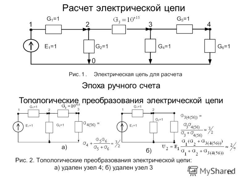 11 Расчет электрической цепи Эпоха ручного счета Топологические преобразования электрической цепи