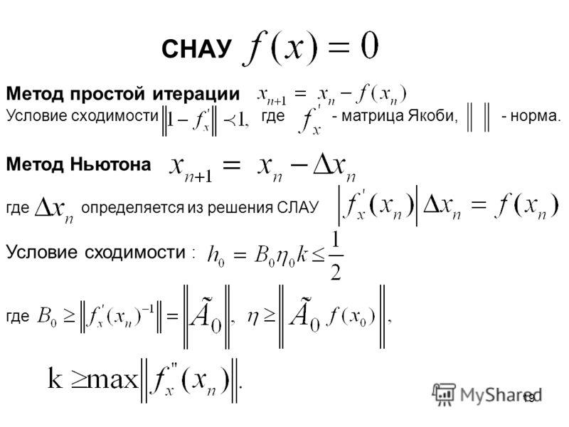 19 СНАУ Метод простой итерации Условие сходимости где - матрица Якоби, - норма. Метод Ньютона где определяется из решения СЛАУ Условие сходимости : где