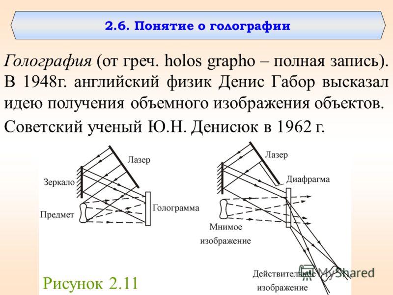 2.6. Понятие о голографии Голография (от греч. holos grapho – полная запись). В 1948г. английский физик Денис Габор высказал идею получения объемного изображения объектов. Советский ученый Ю.Н. Денисюк в 1962 г. Рисунок 2.11