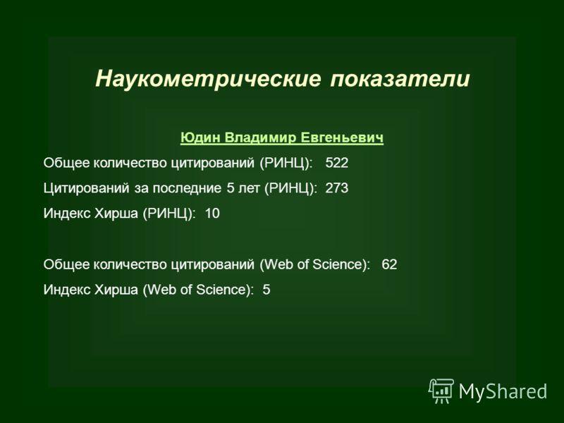 Наукометрические показатели Юдин Владимир Евгеньевич Общее количество цитирований (РИНЦ):522 Цитирований за последние 5 лет (РИНЦ):273 Индекс Хирша (РИНЦ): 10 Общее количество цитирований (Web of Science):62 Индекс Хирша (Web of Science): 5
