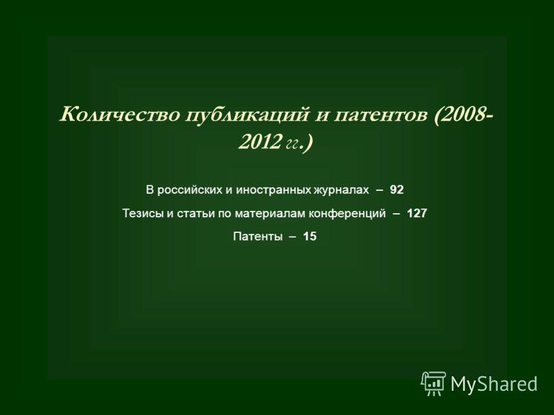 Количество публикаций и патентов (2008- 2012 гг.) В российских и иностранных журналах – 92 Тезисы и статьи по материалам конференций – 127 Патенты – 15