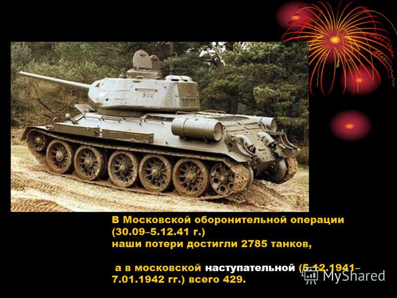 В Московской оборонительной операции (30.09–5.12.41 г.) наши потери достигли 2785 танков, а в московской наступательной (5.12.1941– 7.01.1942 гг.) всего 429.
