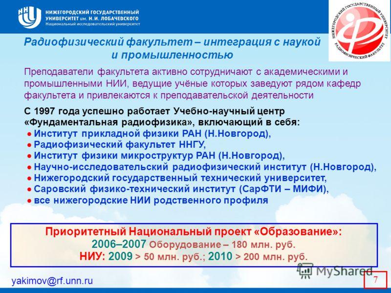 Радиофизический факультет – интеграция с наукой и промышленностью yakimov@rf.unn.ru 7 Преподаватели факультета активно сотрудничают с академическими и промышленными НИИ, ведущие учёные которых заведуют рядом кафедр факультета и привлекаются к препода