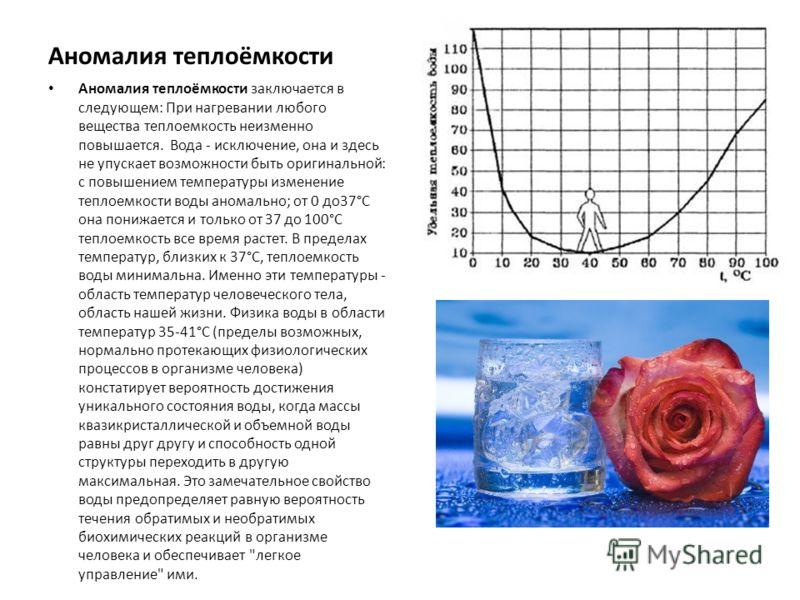 Аномалия теплоёмкости Аномалия теплоёмкости заключается в следующем: При нагревании любого вещества теплоемкость неизменно повышается. Вода - исключение, она и здесь не упускает возможности быть оригинальной: с повышением температуры изменение тепло
