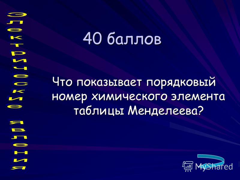 40 баллов Что показывает порядковый номер химического элемента таблицы Менделеева?