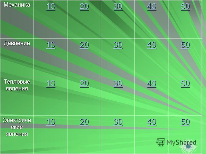 Механика 10 20 30 40 50 Давление 10 20 30 40 50 Тепловые явления 10 20 30 40 50 Электриче ские явления 10 20 30 40 50