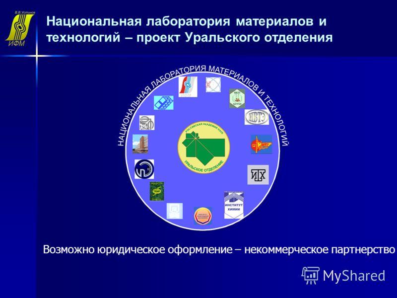 Национальная лаборатория материалов и технологий – проект Уральского отделения Возможно юридическое оформление – некоммерческое партнерство