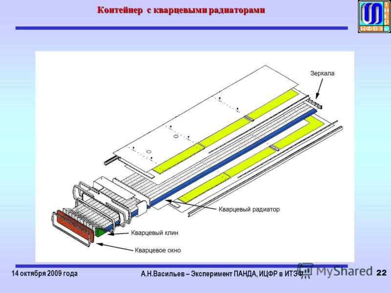 14 октября 2009 года А.Н.Васильев – Эксперимент ПАНДА, ИЦФР в ИТЭФ 22 Контейнер с кварцевыми радиаторами