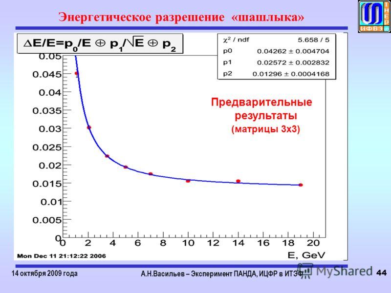 14 октября 2009 года А.Н.Васильев – Эксперимент ПАНДА, ИЦФР в ИТЭФ 44 Энергетическое разрешение «шашлыка» Предварительные результаты (матрицы 3х3)