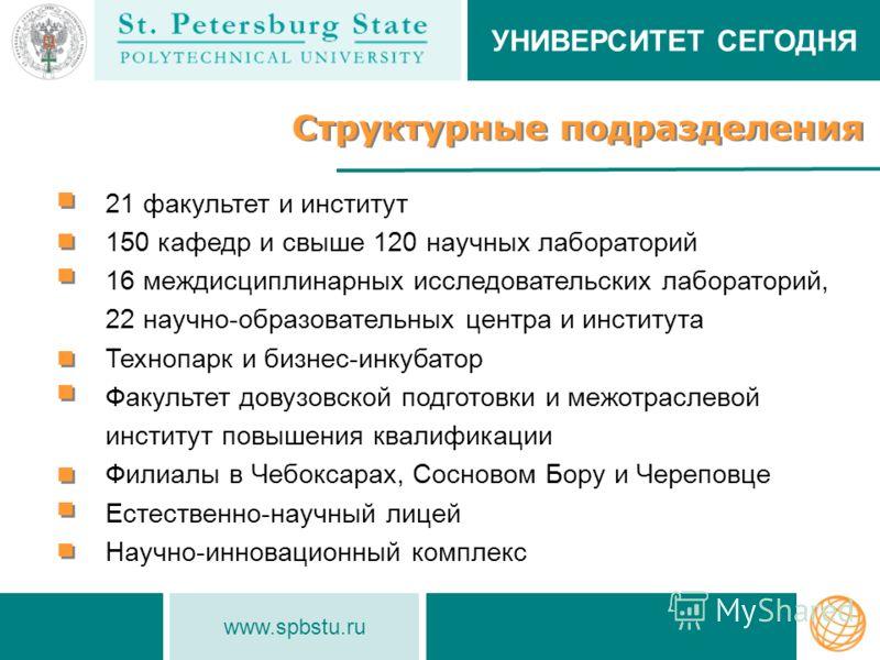 www.spbstu.ru Структурные подразделения 21 факультет и институт 150 кафедр и свыше 120 научных лабораторий 16 междисциплинарных исследовательских лабораторий, 22 научно-образовательных центра и института Технопарк и бизнес-инкубатор Факультет довузов