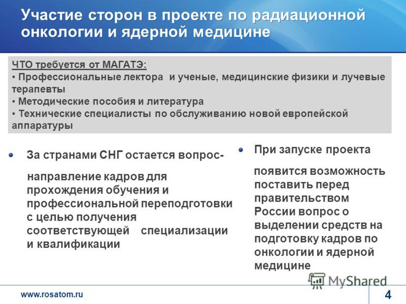 www.rosatom.ru 4 Участие сторон в проекте по радиационной онкологии и ядерной медицине При запуске проекта появится возможность поставить перед правительством России вопрос о выделении средств на подготовку кадров по онкологии и ядерной медицине За с