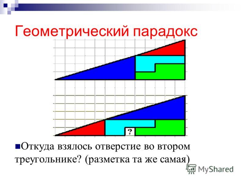 Геометрический парадокс Откуда взялось отверстие во втором треугольнике? (разметка та же самая)