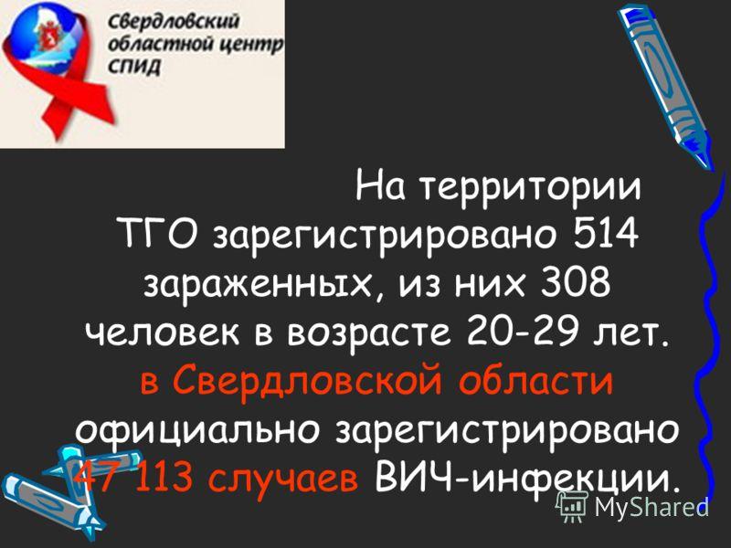 На территории ТГО зарегистрировано 514 зараженных, из них 308 человек в возрасте 20-29 лет. в Свердловской области официально зарегистрировано 47 113 случаев ВИЧ-инфекции.