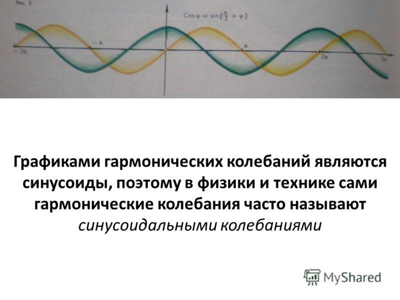Графиками гармонических колебаний являются синусоиды, поэтому в физики и технике сами гармонические колебания часто называют синусоидальными колебаниями