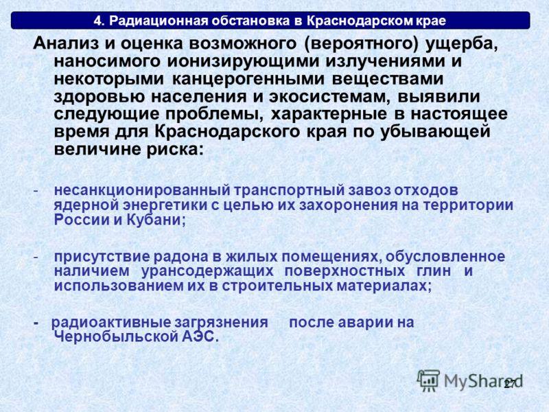 27 4. Радиационная обстановка в Краснодарском крае Анализ и оценка возможного (вероятного) ущерба, наносимого ионизирующими излучениями и некоторыми канцерогенными веществами здоровью населения и экосистемам, выявили следующие проблемы, характерные в