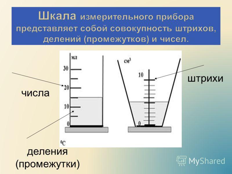 числа штрихи деления (промежутки)