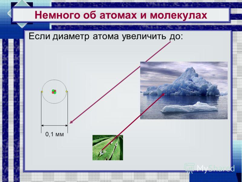 Немного об атомах и молекулах Если диаметр атома увеличить до: 0,1 мм