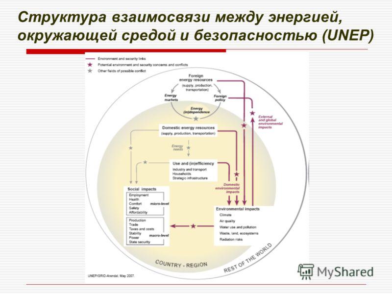 Структура взаимосвязи между энергией, окружающей средой и безопасностью (UNEP) Structure of the interactions between energy, environment and security