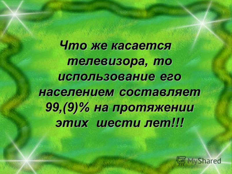 Что же касается телевизора, то использование его населением составляет 99,(9)% на протяжении этих шести лет!!!