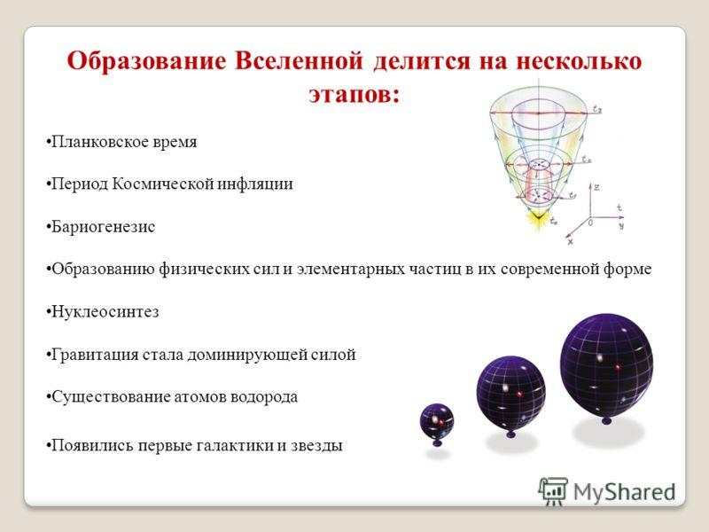 Образование Вселенной делится на несколько этапов: Планковское время Период Космической инфляции Бариогенезис Образованию физических сил и элементарных частиц в их современной форме Нуклеосинтез Гравитация стала доминирующей силой Существование атомо