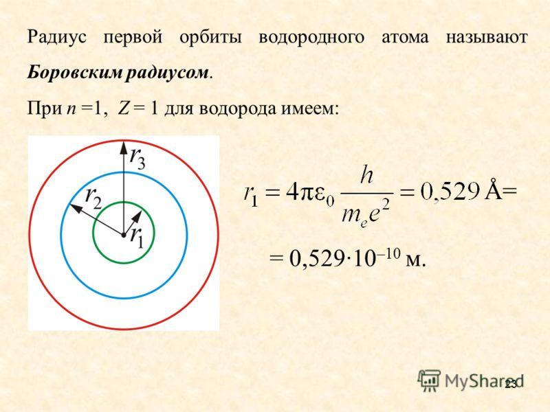 Радиус первой орбиты водородного атома называют Боровским радиусом. При n =1, Z = 1 для водорода имеем: = 0,529·10 –10 м. Å= 23