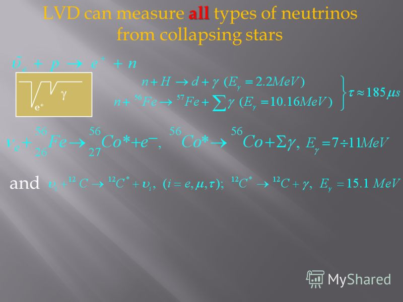 all LVD can measure all types of neutrinos from collapsing stars e+e+ and
