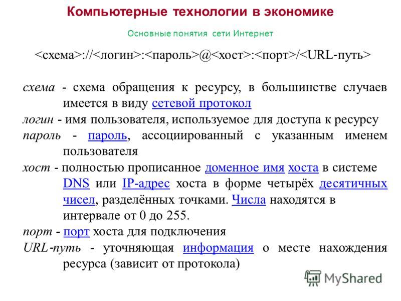 Компьютерные технологии в экономике Основные понятия сети Интернет :// : @ : / схема - схема обращения к ресурсу, в большинстве случаев имеется в виду сетевой протоколсетевой протокол логин - имя пользователя, используемое для доступа к ресурсу парол