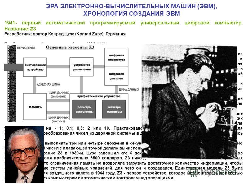 1941- первый автоматический программируемый универсальный цифровой компьютер. Название: Z3 Разработчик: доктор Конрад Цузе (Konrad Zuse), Германия. Приблизительный период разработки: 1938-1941. Краткое описание: Z3 продолжил берлинские разработки Кон