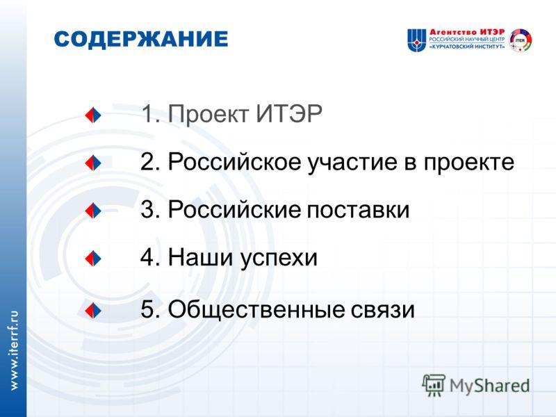 СОДЕРЖАНИЕ 1. Проект ИТЭР 2. Российское участие в проекте 5. Общественные связи 3. Российские поставки 4. Наши успехи