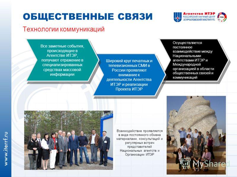 Технологии коммуникаций ОБЩЕСТВЕННЫЕ СВЯЗИ Осуществляется постоянное взаимодействие между Национальными агентствами ИТЭР и Международной организацией в области общественных связей и коммуникаций Широкий круг печатных и телевизионных СМИ в России проя