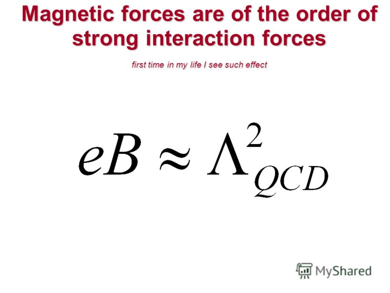 Magnetic forces are of the order of strong interaction forces first time in my life I see such effect