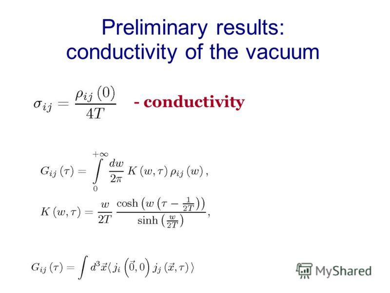 Preliminary results: conductivity of the vacuum - conductivity