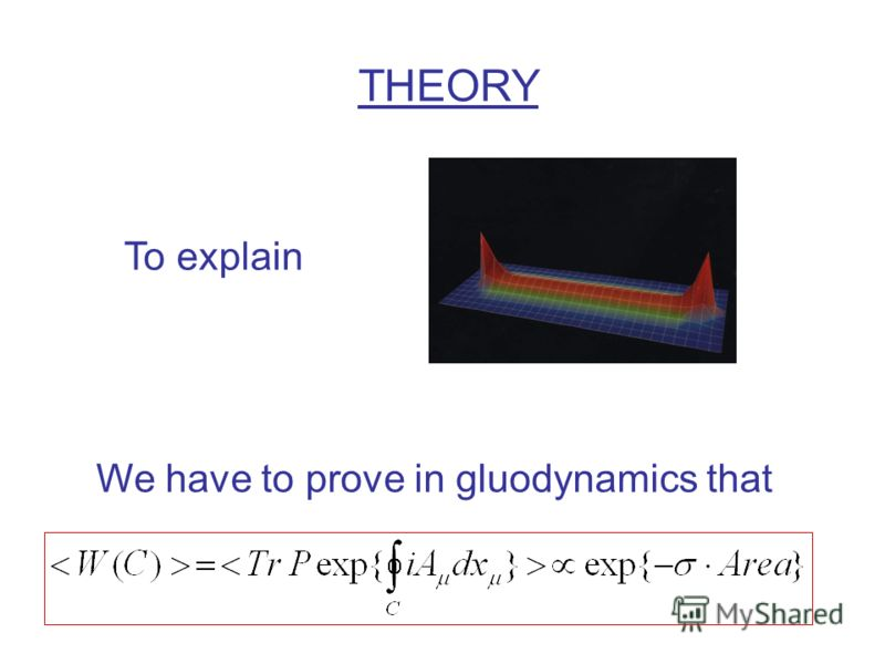 THEORY To explain We have to prove in gluodynamics that