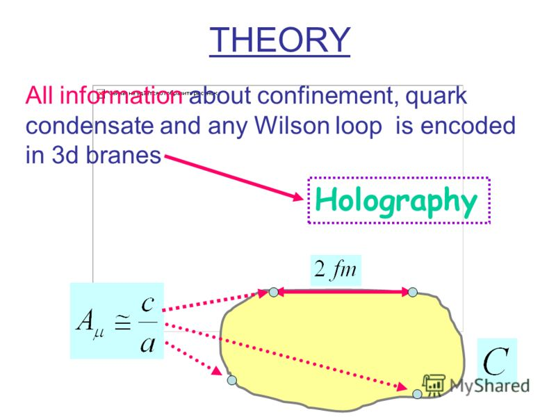 All information about confinement, quark condensate and any Wilson loop is encoded in 3d branes Holography THEORY
