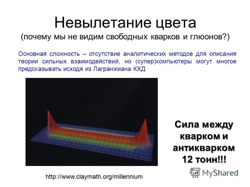 Невылетание цвета (почему мы не видим свободных кварков и глюонов?) Основная сложность – отсутствие аналитических методов для описания теории сильных взаимодействий, но (супер)компьютеры могут многое предсказывать исходя из Лагранжиана КХД Сила между