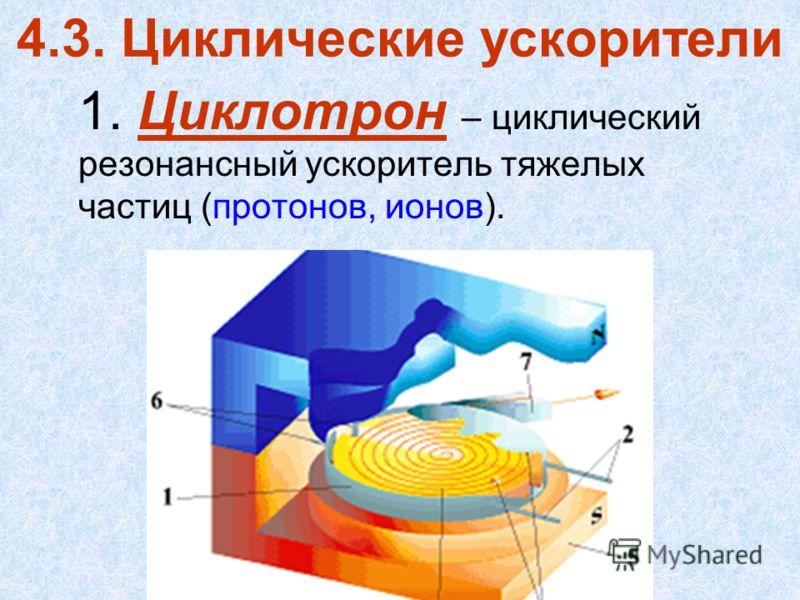 4.3. Циклические ускорители 1. Циклотрон – циклический резонансный ускоритель тяжелых частиц (протонов, ионов).