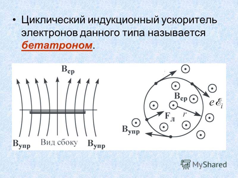 Циклический индукционный ускоритель электронов данного типа называется бетатроном.