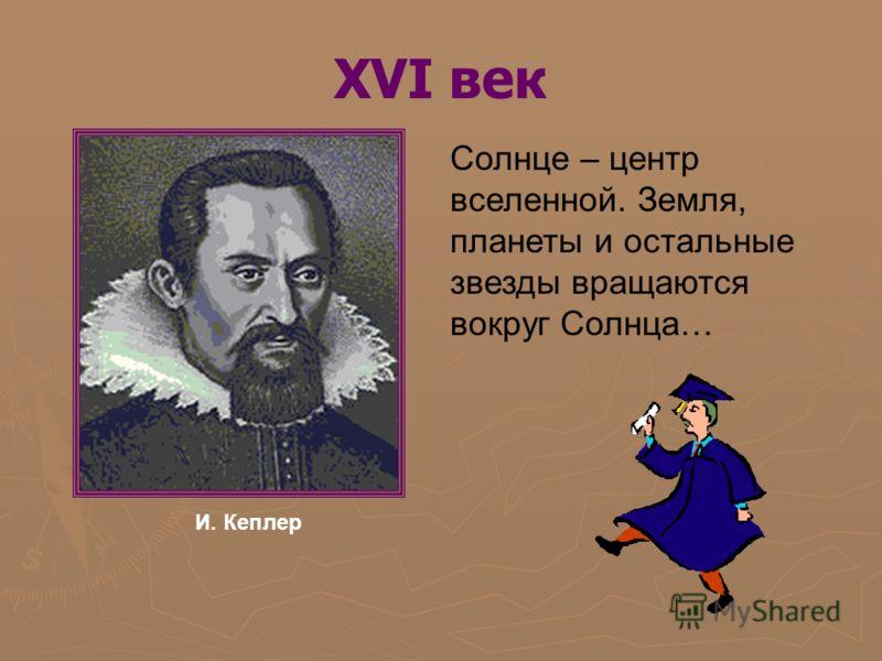 XVI век Солнце – центр вселенной. Земля, планеты и остальные звезды вращаются вокруг Солнца… И. Кеплер