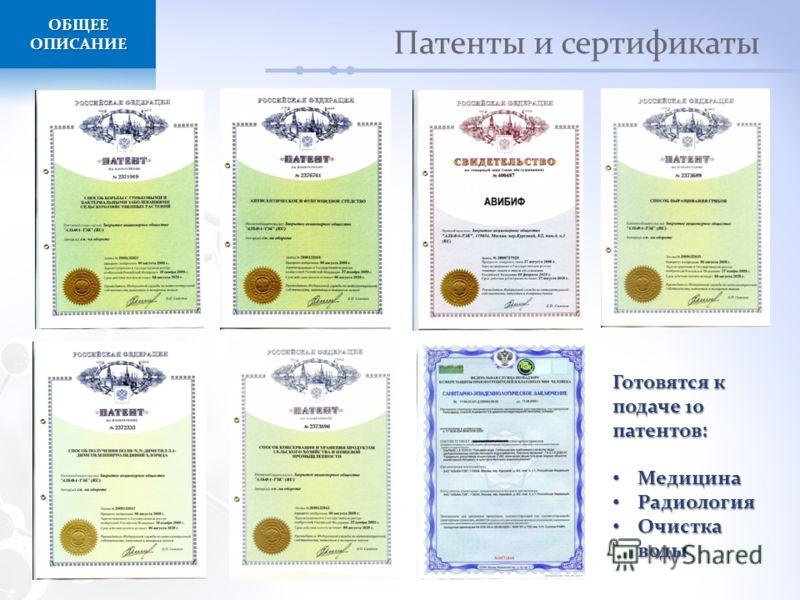 Патенты и сертификаты ОБЩЕЕ ОПИСАНИЕ Готовятся к подаче 10 патентов: Медицина Медицина Радиология Радиология Очистка воды Очистка воды