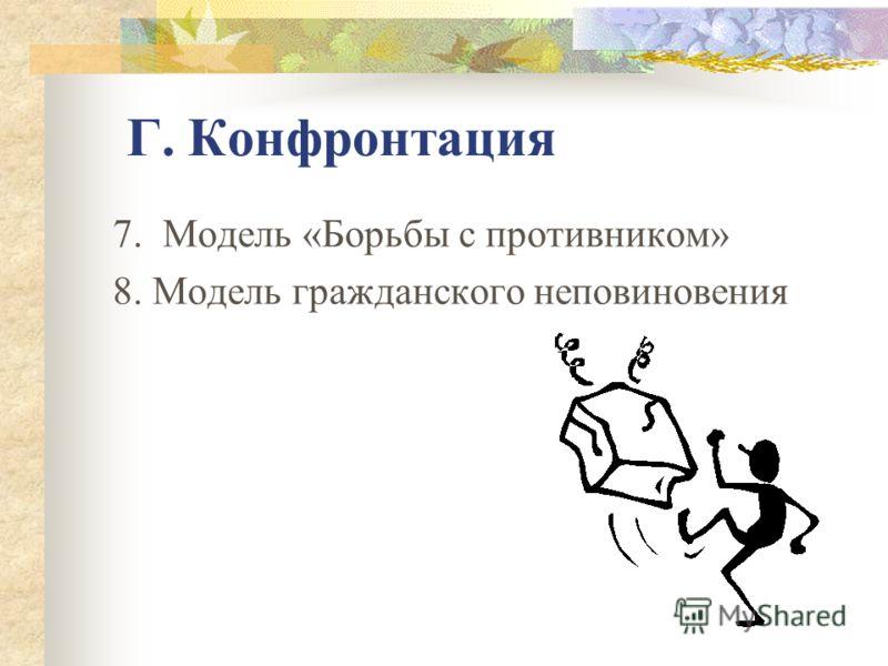 Б. Взаимодействие, основанное на доминировании власти 4. Патерналистская модель 5. Модель «Приводных ремней» В. Отсутствие взаимодействия (игнорирование) 6. Модель игнорирования