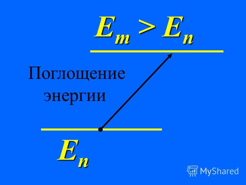 2. При переходах между стационарными состояниями атом поглощает или излучает квант энергии. При поглощении энергии атом переходит в более энергетическое состояние.
