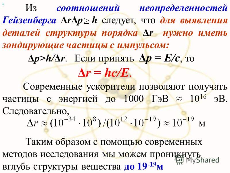 х Из соотношений неопределенностей Гейзенберга ΔrΔp h следует, что для выявления деталей структуры порядка Δr нужно иметь зондирующие частицы с импульсом: Δp>h/Δr. Если принять Δp = E/c, то Δr = hc/E. Современные ускорители позволяют получать частицы