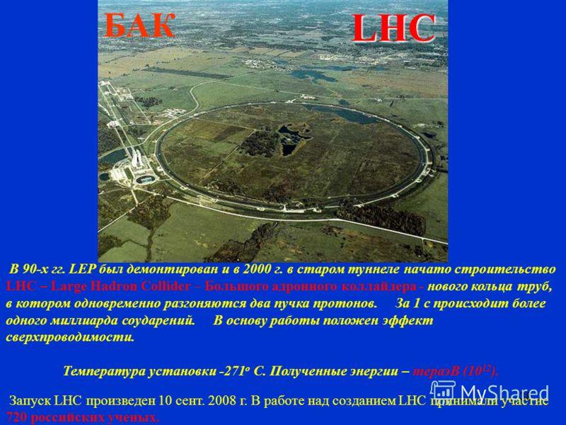 38 В 90-х гг. LEP был демонтирован и в 2000 г. в старом туннеле начато строительство LHC – Large Hadron Collider – Большого адронного коллайдера - нового кольца труб, в котором одновременно разгоняются два пучка протонов. За 1 с происходит более одно